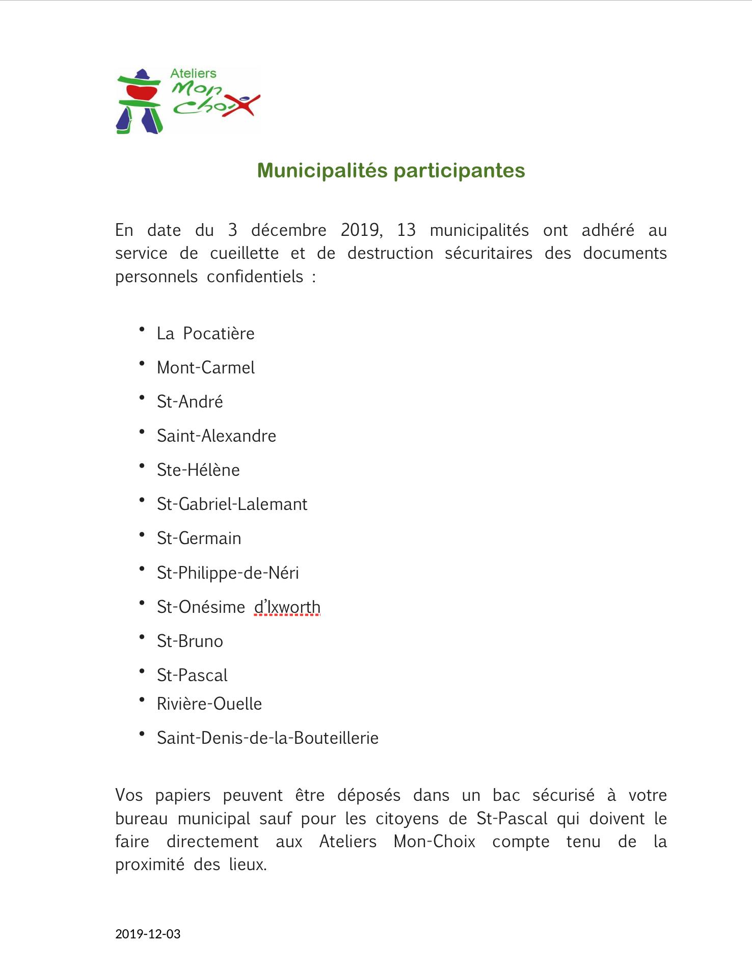 Municipalités Participantes